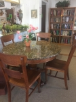 3/23/17 Oak Table with Granite Top with 4 Chairs $695