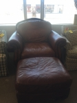 3/30/17 Genuine Leather Chair with Ottoman $395 *Sold*