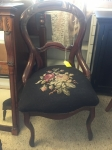 6/1/17 Walnut Needlepoint Victorian chair $75