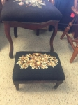 6/1/17 Walnut Needlepoint Footstool $75