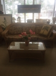 9/7/17 Rattan Couch and Coffee table $595 (Price includes 2 Rattan chairs, matching ottoman, and a matching small coffee table) COUCH: 34H x 83W x 36L  TABLE: 16H x 42W x 20L