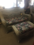 10/5/17 Wicker Couch & Ottoman (Includes Matching Chair) $395 COUCH: 33Hx54Wx30L OTTOMAN: 18Hx33Wx18L