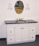 Blue Pearl granite countertop on a white bathroom vanity.