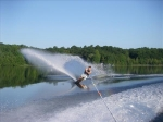 early morning water skiing