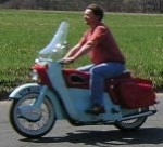 1960 Ariel Leader in lite blue and red.