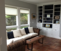 Interior painting - Den walls, built-in bookcase, trim, and ceiling.