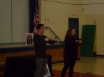 Dante and Mallory give some sign language instruction during the presentation at Hampton Elementary School.